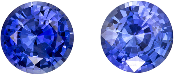 Beautiful Round Cut Blue Sapphire Well Matched Pair, Cornflower Blue, 6.5 mm, 2.36 carats