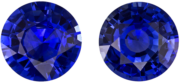Eye Catching Round Cut Blue Sapphire Well Matched Pair, Intense Rich Blue, 6.4 mm, 2.49 carats