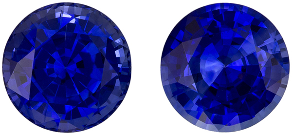 Fine Color Round Cut Blue Sapphire Well Matched Pair, Intense Rich Blue, 6.4 mm, 2.59 carats