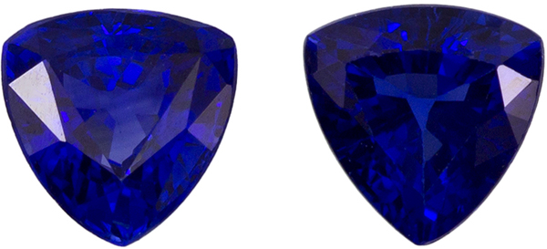 Hard to Find Trillion Cut Blue Sapphire Well Matched Pair, Vivid Rich Blue, 3.9 mm, 0.56 carats