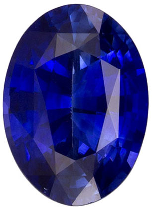 Lovely Rare Blue Sapphire Gemstone in Oval Cut, Vivid Rich Blue, 7 x 5 mm, 0.86 carats