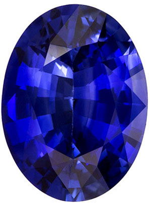 Calibrated Size Blue Sapphire Gemstone in Oval Cut, Vivid Rich Blue, 8 x 6 mm, 1.25 carats