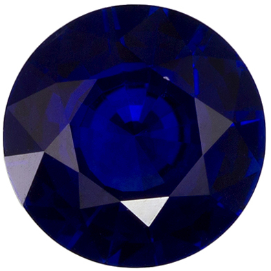 Rich Looking Blue Sapphire Gemstone in Round Cut, Vivid Blue, 6.1 mm, 0.92 carats