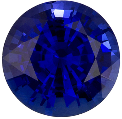 Highly Requested Blue Sapphire Gemstone in Round Cut, Vivid Rich Blue, 6.6 mm, 1.37 carats
