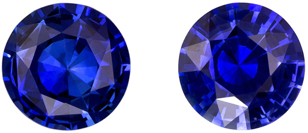 Beautiful Well Matched Pair of Blue Sapphire in Round Cut, Medium Rich Blue, 5 mm, 1.01 carats