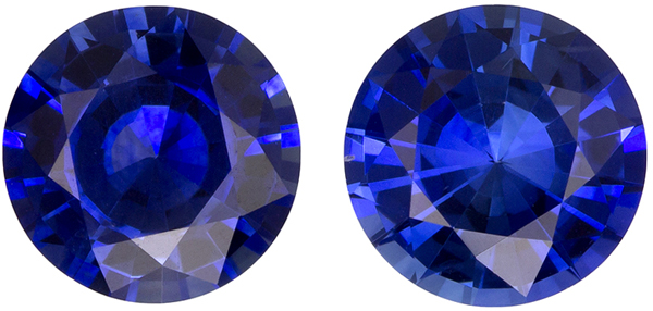 Hard to Find Well Matched Pair of Blue Sapphire in Round Cut, Intense Rich Blue, 5.9 mm, 1.7 carats