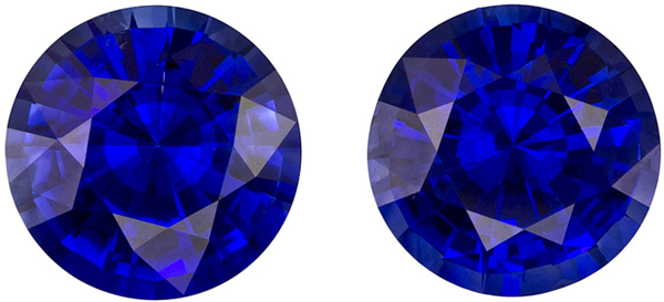Gorgeous Well Matched Pair of Blue Sapphire in Round Cut, Medium Rich Blue, 7 mm, 2.83 carats