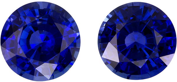 Eye Catching Well Matched Pair of Blue Sapphire in Round Cut, Rich Blue, 7 mm, 2.82 carats