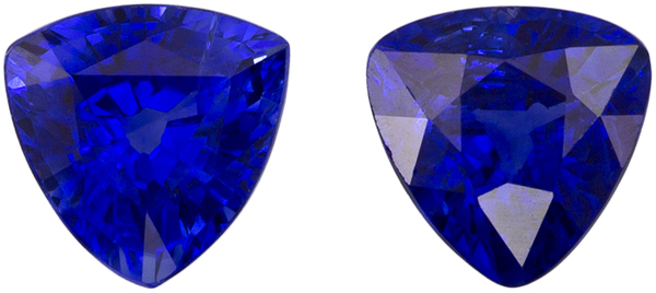 High Color Well Matched Pair of Blue Sapphire in Trillion Cut, Vivid Intense Blue, 4.2 mm, 0.71 carats