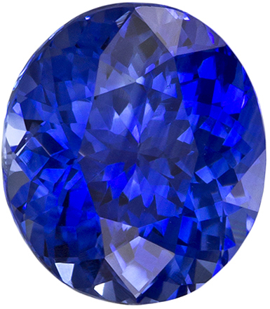 Bright & Lively Oval Cut Blue Sapphire Loose Gem, Medium Rich Blue, 7.5 x 6.7 mm, 1.73 carats