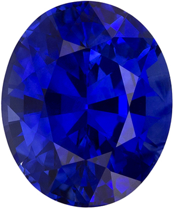 Hard to Find Oval Cut Blue Sapphire Loose Gem, Vivid Blue, 7.6 x 6.4 mm, 1.74 carats
