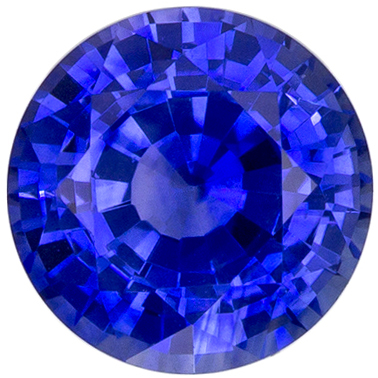 Very Pretty Round Cut Blue Sapphire Loose Gem, Vivid Blue, 5.9 mm, 1.09 carats