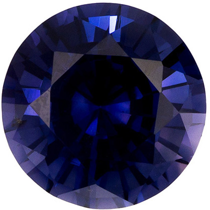 Beautiful Unheated Blue Sapphire Gemstone in Round Cut, Rich Blue Violet, 7.6 x 7.5 mm, 2.08 carats - GIA Certified