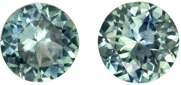 Montana Material Round Cut Blue Green Sapphire Well Matched Pair, Open Teal Blue, 5 mm, 1.24 carats