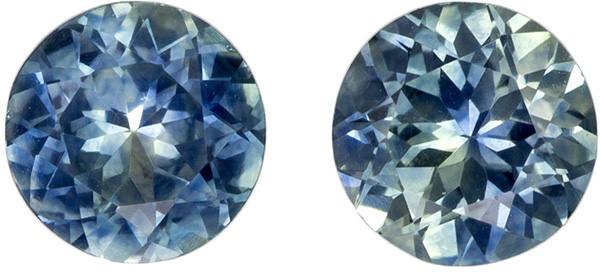 Wonderful Rare Well Matched Pair of Blue Green Sapphire in Round Cut, Teal Blue Green, 5 mm, 1.29 carats