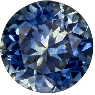 Brilliant Round Cut Blue Green Sapphire Loose Gem, Rich Blue, 6.4 mm, 1.27 carats