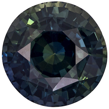 Excellent Rare No Treatment Round Cut Blue Green Sapphire Loose Gem, Blue Green, 10.0 x 9.9 mm, 5.59 carats - GIA Certified