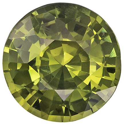 Beautiful Rare Round Cut Green Sapphire Loose Gem, Rich Yellowish Green, 8.7 mm, 2.91 carats