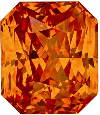 Pop of Color Orange Sapphire Gemstone in Radiant Cut, Sunkist Orange, 9.5 x 8.2 mm, 5.16 carats - GIA Certified