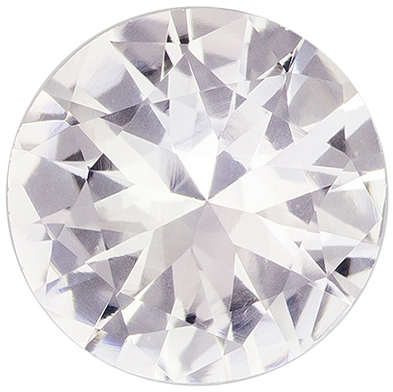 Super Desirable White Sapphire Gemstone in Round Cut, Colorless White, 6.6 mm, 1.02 carats