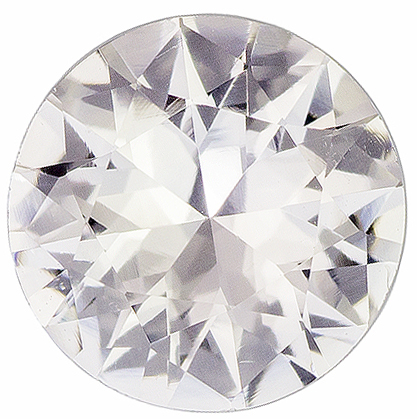Lively & Bright White Sapphire Gemstone in Round Cut, Very Colorless, 6.9 mm, 1.2 carats