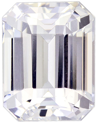 Diamond Looking Untreated White Sapphire Gemstone in Emerald Cut, Colorless White, 7.9 x 6.2 mm, 2.46 carats - GIA Certified