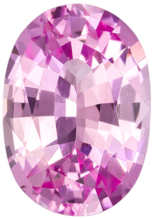 Appealing Oval Cut Pink Sapphire Loose Gem, Medium Pure Pink, 7.6 x 5.4 mm, 1.24 carats
