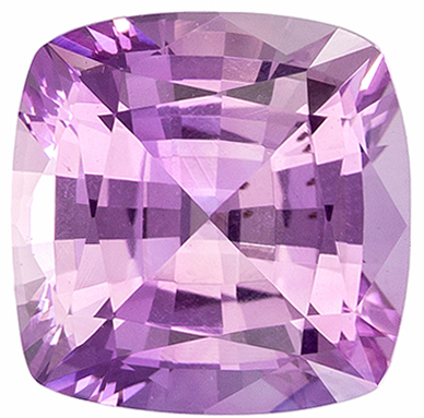 Wonderful No Treatment Pink Sapphire Gemstone in Cushion Cut, Light Pink, 6.6 x 6.5 mm, 1.55 carats - GIA Certified