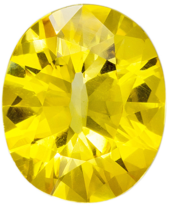 Very Appealing Yellow Sapphire Gemstone in Oval Cut, Vivid Pure Yellow, 9.3 x 7.7 mm, 2.14 carats