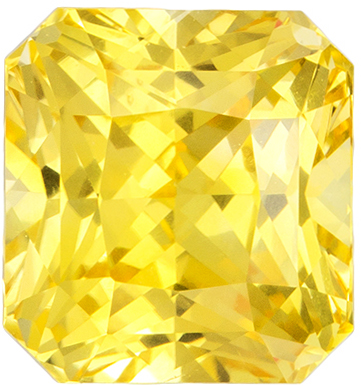 Lovely Rare Radiant Cut Yellow Sapphire Loose Gem, Pure Medium Yellow, 6.7 x 6.2 mm, 2.08 carats