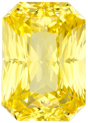 Rare No Heat Yellow Sapphire Gemstone in Radiant Cut, Vivid Yellow, 8.3 x 5.9 mm, 2.09 carats - GIA Certified