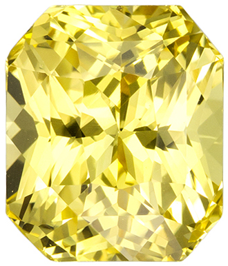 Super Lively No Treatment Yellow Sapphire Gemstone in Radiant Cut, Pure Yellow, 8.1 x 6.9 mm, 3.06 carats - GIA Certified