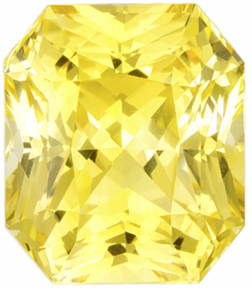 Lively & Bright Unheated Radiant Cut Yellow Sapphire Loose Gem, Medium Yellow, 7.6 x 6.6 mm, 2.36 carats - GIA Certified