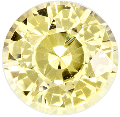 Wonderful No Heat Round Cut Yellow Sapphire Loose Gem, Light Yellow, 6.3 x 6.2 mm, 1.24 carats - GIA Certified