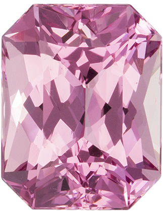 Very Pretty Pink Spinel Gemstone in Radiant Cut, Vivid Pink, 7.4 x 5.8 mm, 1.64 carats