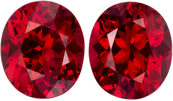 Gemmy Oval Cut Red Spinel Well Matched Pair, Fire Engine Red, 6.1 x 5.2 mm, 1.67 carats