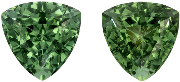 Highly Requested Trillion Cut Blue Green Tourmaline Well Matched Pair, Rich Minty Green, 6.4 mm, 2.1 carats