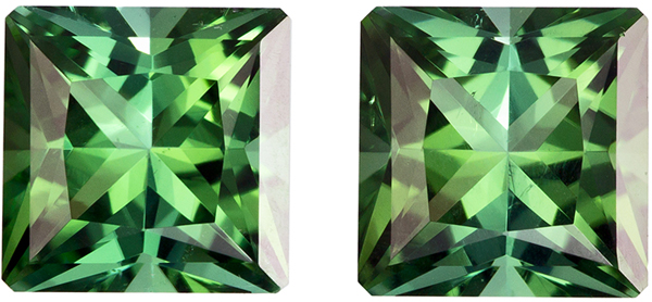Very Lovely Well Matched Pair of Blue Green Tourmaline in Princess Cut, Grass Green, 6.1 mm, 2.3 carats