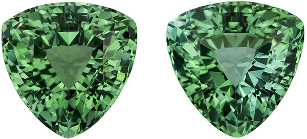 Super Desirable Well Matched Pair of Blue Green Tourmaline in Trillion Cut, Mint Green Teal, 7.1 mm, 2.89 carats