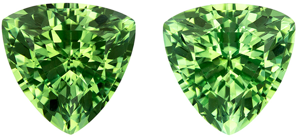 Excellent Clarity on Trillion Cut Green Tourmaline Well Matched Pair, Mint Green, 7.2 mm, 2.74 carats