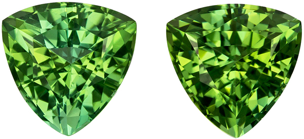 Lovely Well Matched Pair of Green Tourmaline in Trillion Cut, Vivid Mint Green, 6.4 mm, 2.22 carats
