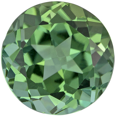 Very Desirable Round Cut Green Tourmaline Loose Gem, Minty Green, 6.7 mm, 1.41 carats