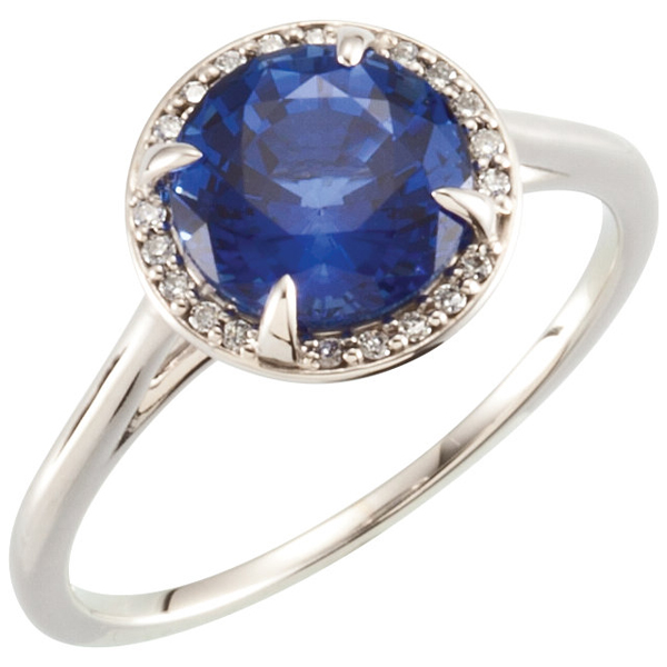 Exquisite 2.75ct 8.00 mm Round ChathamCreated Blue Sapphire Solitaire Ring - .05ct Diamond Accent Halo