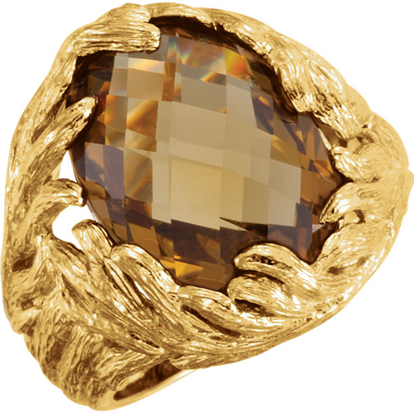 Fabulous 11.5ct 18x13mm Oval Honey Quartz Statement Ring With Bark Textured Yellow Gold Plated Sterling Silver