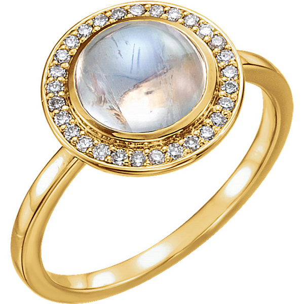 Gorgeous Bezel Set 8.00 mm Rainbow Moonstone Diamond Halo Ring in 14kt Gold - Metal Type Options