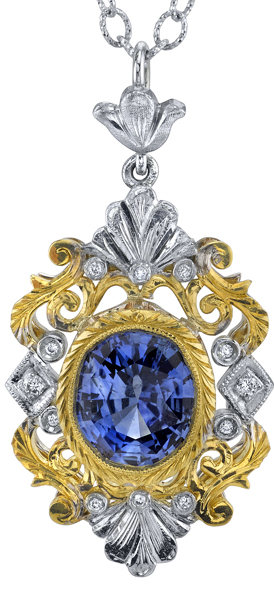 Super Ornate 2.29ct Oval Ceylon Sapphire Pendant With Diamond Accents - 2-Tone 18kt Gold Intricate Metalwork