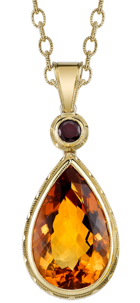 Lovely Handmade 18kt Yellow Gold Large 22x13mm Pear Citrine Pendant -Round Pyrope Garnet Accent