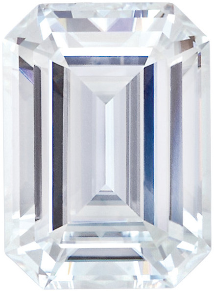 Forever One Moissanite Colorless Emerald Step Cut