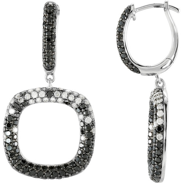 Pave 14 Karat White Gold 2 1/6 Carat Total Weight Black & White Diamond Hoop Earrings
