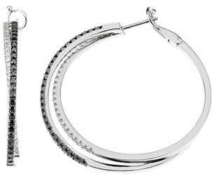 Criss Cross 14 Karat White Gold 1.5 Carat Total Weight Black & White Diamond Large Hoop Earrings